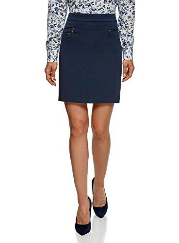 oodji Ultra Femme Jupe Droite Décorée de Zips, Bleu, FR 36 / XS