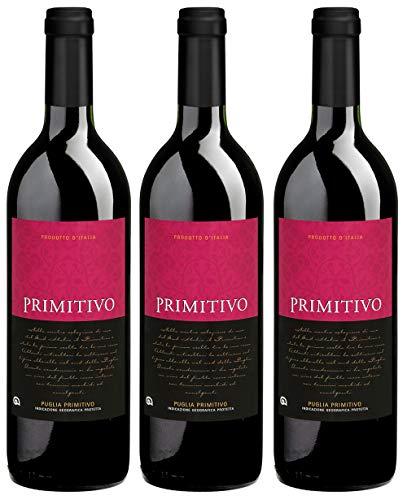 BBio Wein Rotwein Lieblich Primitivo Italien Manduria 2019 Primitivo Puglia Vegan Histaminarm Säurearm (3 x 0,75l)