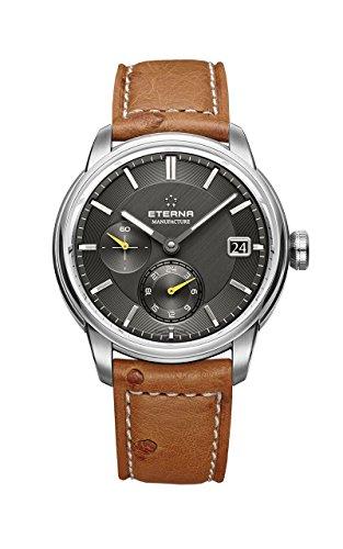 Eterna Adventic Automatik Uhr, Eterna 3914A, Crocodileband, Schwarz