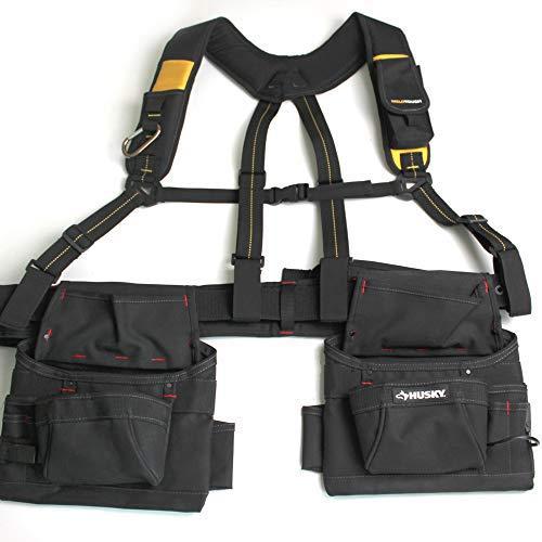 Tool Belt Suspenders/ Work Suspenders with Padded Foam Adjustable Shoulder Straps , Large Phone Holder, Key Chain, Suspenders Loop Adjustable for Carpenter Suspenders Rig (Hook and loop black color)