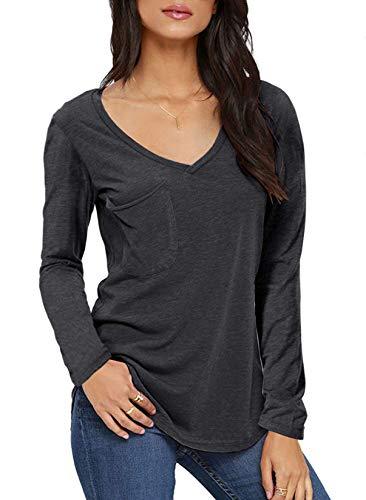 TASAMO Tunic Tops for Leggings for Women Long Seeve T-Shirts V Neck Blouses Casual (Medium, Dark Gray)