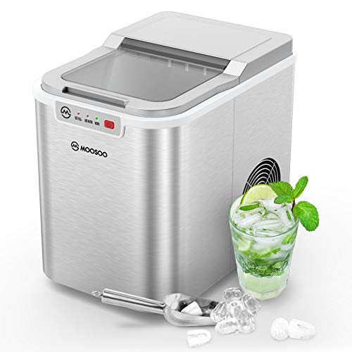 MOOSOO Ice Maker Countertop with Automatic Self-Cleaning, 9 Ice Cubes Ready in 7-9 Minutes, Make 26.5lbs Bullet Ice Cubes in 24H, Portable Ice Maker Machine with ETL Certificate (Stainless-Steel)