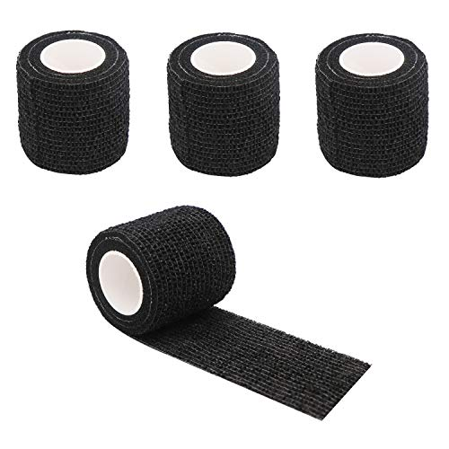 GOETOR Tattoo Grip Cover Wrap 2 Inch x 5 Yards 4 Rolls Breathable Self Adherent Wraps Black Elastic Bandage Tape for Tattoo Grip Cover Sports Wrist Ankle Sprains & Swelling (Black)