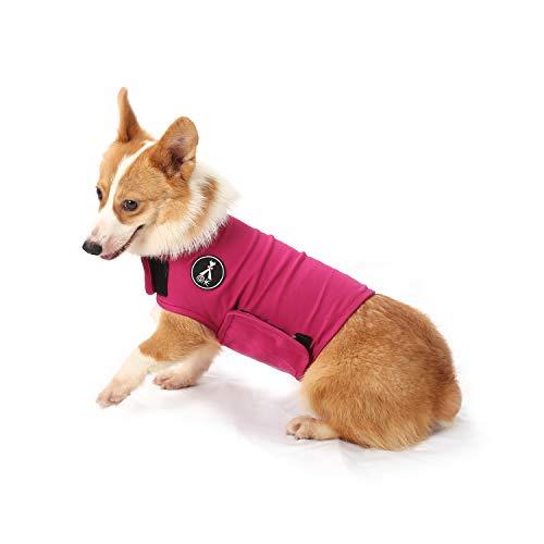 Hundemantel zur Linderung von Angst,leichtes Wickelhelmd für Hunde mit Angstzustände (M, Rose rot)