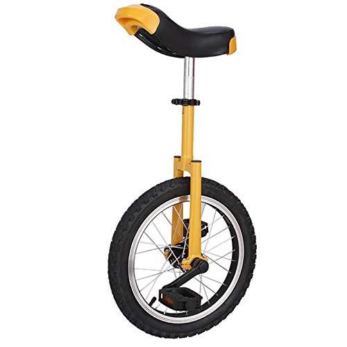 Lqdp Einrad Kinder Einrad 16-Zoll-Rad für 7-12 Jahre Alte, Verstellbare Sitzrad Einrad für Ihre Tochter/Sohn, Mädchen/Jungen (Color : Yellowm)