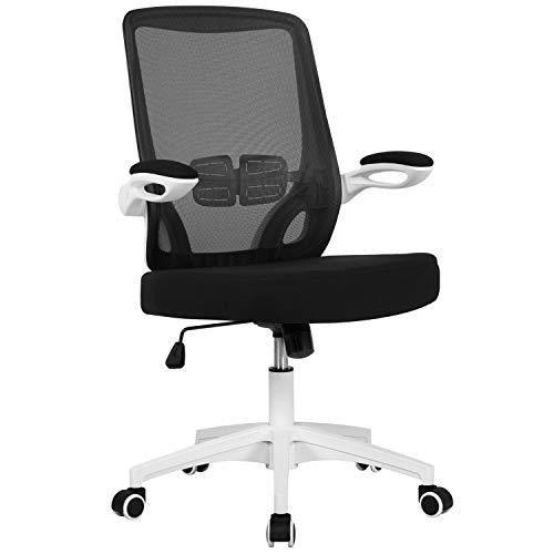 Yaheetech Bürostuhl Chefsessel ergonomisch Drehstuhl höhenverstellbar Computerstuhl mit wegklappbare Armlehne Netzrücken