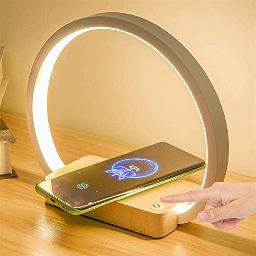 LATOO Lámpara de Mesa Lámpara de mesilla multifuncional con cargador inalámbrico lámpara de escritorio LED blanca, adaptador 5V 2A, 3 modos de iluminación, luz de consola táctil para apreciar ni?os, a