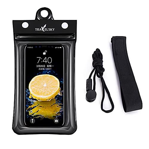 Funda impermeable para teléfono móvil – 6,5 pulgadas, resistente al agua, para natación, buceo, funda con brazalete y banda para iPhone 11 Pro, X; Huawei P30 Pro; Galaxy S10e (color negro)