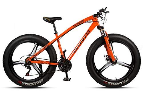 Qj Bicicletas De Montaña, 26 Pulgadas Marco De Acero De Carbono De Alta Fat Tire Mountain Trail Bicicletas, Bicicletas De Montaña para con Doble Freno De Disco,Naranja,30Speed