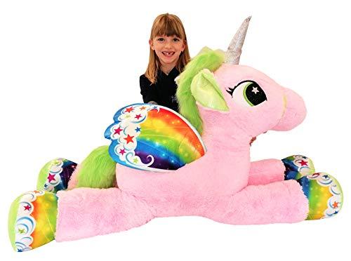 Dinotoys Gigante Peluche XXLL Unicorno Pony Cavallo Rosa 105 cm per Bambini Ragazzi Adulti San Valentino