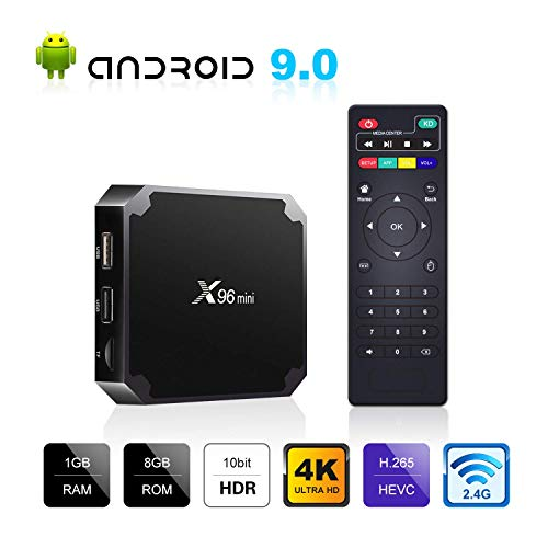 2020 Upgraded Android TV Box, X96 Mini Android 9.0 TV Box 1GB RAM 8GB ROM, Support 2.4G WiFi 100M Ethernet 3D/4K HD HDR H.265 Android Box