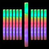 Relaxdays 10024361, weiß Leuchtstab LED 12er Set, Blinkstäbe, Leuchten in 3 Modi, Schaumstoff, Batterien inklusive, Partystab
