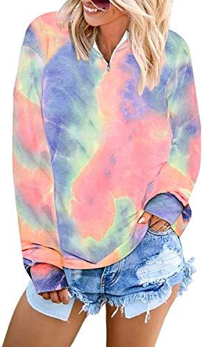 Uusollecy Damen Tie-Dye Sweatshirt 1/4 Zip Langarm Pullover Casual Stehkragen Oberteile Tops