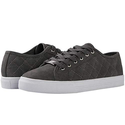 GLOBALWIN Women's Grey Fashion Sneakers Low Top Casual Walking Shoes 11M