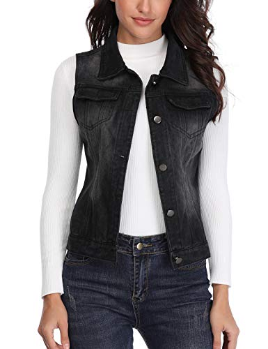 MISS MOLY Denim Vest for Women Sleeveless Button up Washed Cropped Jean Jacket Black X-Large