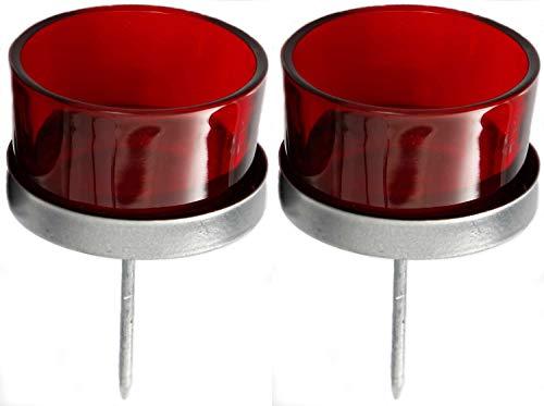 Novaliv 2X Kerzenhalter rot Teelichthalter Teelichtgläser Kerzenhalter zum Stecken Kerzenpicks für Adventskranz 5cm