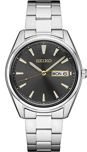 Reloj de pulsera de acero inoxidable Seiko con esfera gris para hombre SUR343