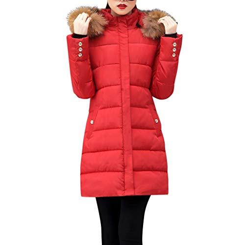 URIBAKY-Winterjacke-Damen Warme Kapuzen Steppjacke Hoodie Dünne Jacke Reißverschluss,Wintermäntel Große Größen-Winterpaka Oberbekleidung-Haar-Kragen-Mantel- Baumwolle-aufgefüllte Jacke