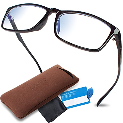 LAMIO ブルーライトカット メガネ PCメガネ パソコン用メガネ JIS規格検査済 ブルーライト 35%以上カット UV 紫外線 99%カット 軽量 ウェリントン 男女兼用 伊達メガネ 度なし (ブラック)