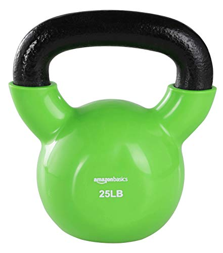 Amazon Basics Vinyl Kettlebell - 25 Pounds, Light Green