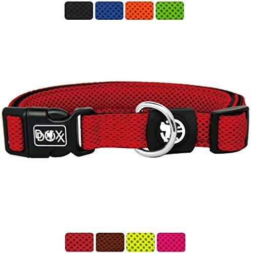 DDOXX Hundehalsband Air Mesh, verstellbar, gepolstert | viele Farben & Größen | für kleine & große Hunde | Halsband Hund Katze Welpe | Hunde-Halsbänder breit | Katzen-Halsband klein | Rot, L
