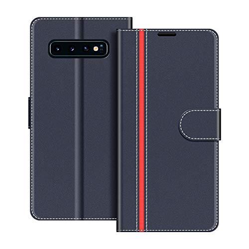 COODIO Handyhülle für Samsung Galaxy S10 Plus Handy Hülle, Samsung Galaxy S10 Plus Hülle Leder Handytasche für Samsung Galaxy S10 Plus Klapphülle Tasche, Dunkel Blau/Rot