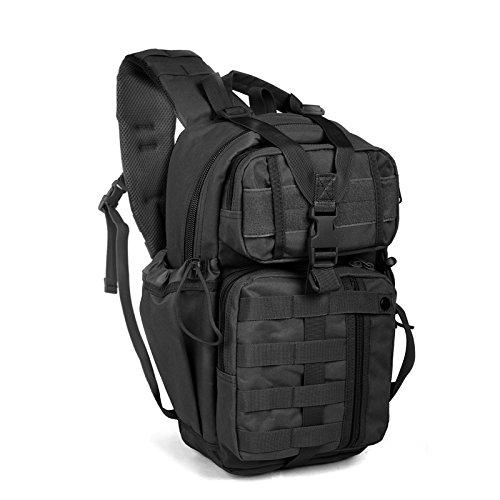 Tactical Sling Bag Pack Military Rover Shoulder Backpack Bowmen Bag (Black)