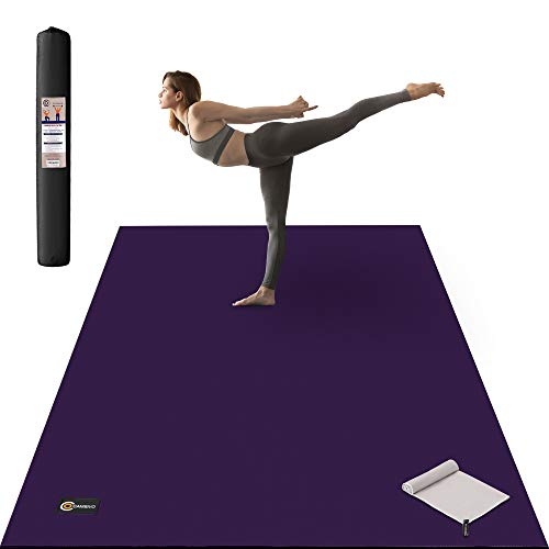 CAMBIVO Large Yoga Mat, Extra Thick (6' x 4' x 8 mm) Barefoot Exercise Workout Mat for Home Gym Studio, Yoga, Stretching, Workout (Dark Purple with Grey)