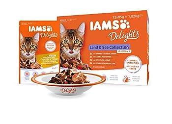 Iams Terre/Mer Land/Sea Collection Nourriture Humide en Sauce pour Chat Adulte Toutes Les Races 12 Sachets x 85 g