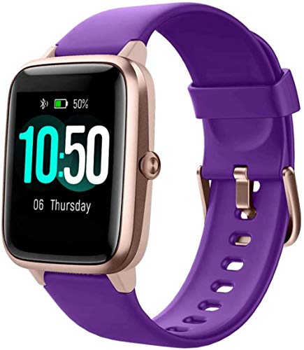 FGHJKOO Smart Watch Fitness Tracker Watch Men's Women's Fitness Watch Heart Rate Monitor IP68 Waterproof Digital Watch with Pedometer Calorie Sleep Tracker Smart Watch for Mobile Phone-Purple