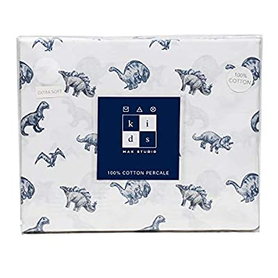 Max Studio Kids 3-Piece Twin Single Bed Dino Friends Different Types of Dinosaurs Cotton Percale Sheet Set