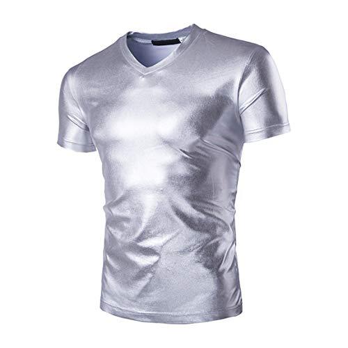 FUQUAN Uomo Slim Fit Dorata Argento con Maniche Corte Eleganti Collo Francese Discoteche Moda Camicia Casual Costume Uomo Nuovo Dipinto Camicie Longsleeve Luminoso Superficie Rivestimento Moda Shirt