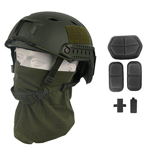 LOOGU Airsoft Helm Fast BJ Militärhelm Ops Core Helm mit Kopftuch Taktischer Schutzhelm für Paintball Freizeit Outdoor Tactical Jagd Top Grün Helmet