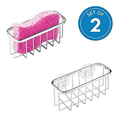 iDesign Gia Kitchen Sink Suction Holder for Sponges, Scrubbers, Soap, Kitchen, Bathroom, Set of 2, Stainless Steel