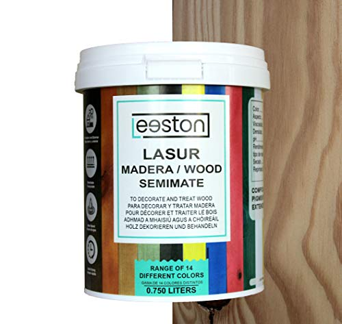 Pintura lasur para maderas, tratamiento para exterior e interior, fácil aplicación y limpieza gracias a su base al agua,...