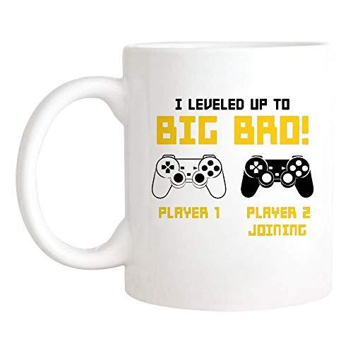 N\A I Leveled Up to Big Bro Mug, Taza de Anuncio de Big Brother para Jugadores y Amantes de los Videojuegos, Nueva Taza Divertida de Big Brother, Taza de café novedosa