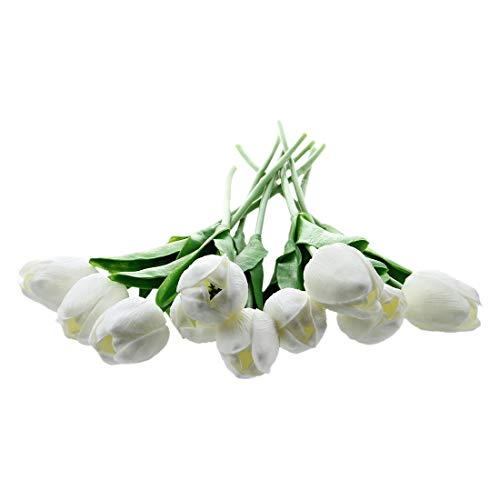 Olatokolaos 10 Pcs White Tulip Flower Latex Real Touch Kc456 - Green Small Yellow Dahlia Lillies Vines Stems Multicolor Eucalyptus Kissing Latex Hibiscus Gladiola Arrangements M
