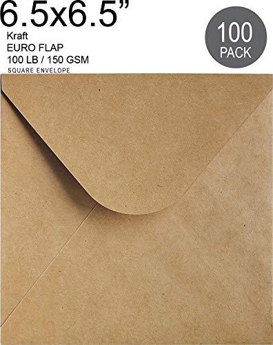"6½ Envelope Kraft Invitation Envelope 6½x6½ | 6½ Square Size 100 Pcs, 6-1/2"" x 6-1/2"" Inches, Wedding Invitation | Natural Brown Envelope | RSVP Envelopes"