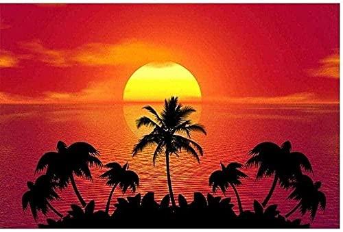 WAIGE Maluj według numerów dla dorosłych początkujących, pejzaż morski o zachodzie słońca, farba akrylowa malowanie według numerów zestawy idealne na prezent i dekorację 40 x 50 cm