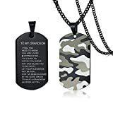 LiFashion to My Grandson Necklace,Boys Stainless Steel Camoflauge Military Dog Tag Pendant Sentiment Motivational Tags Necklace Jewelry for Grandson from Grandpa Grandma for Graduation Birthday Gift