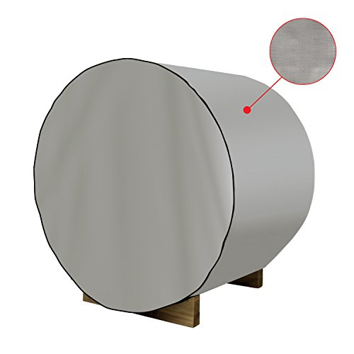 ALEKO SB8DC Dust Coat for SB8PINECP Barrel Sauna All Weather Polyethylene Protecting Cover 93 x 72 x 75 Inches Silver