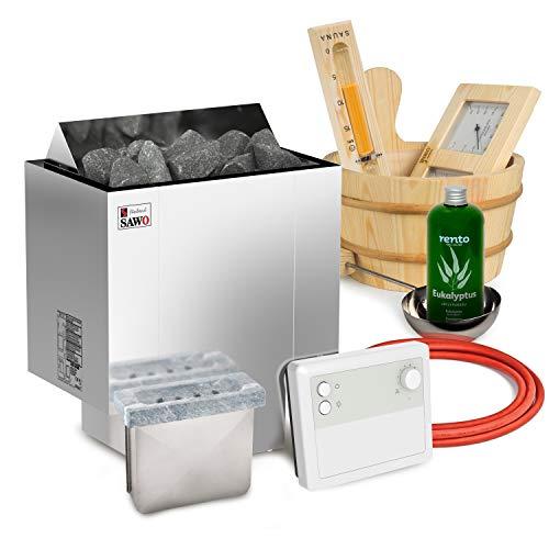 Elektrische Saunaofen Sawo Nordex Plus 8kW mit Klassische Saunasteuerung zusammen mit 20kg Steinen und Sauna Zubehör Set