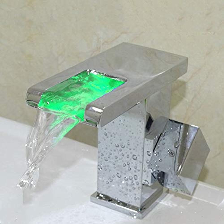 SCJS Wasserhahn LED selbstleuchtender Wasserhahn warme und kalte Wasserflle Einloch - Toilette Bad Waschbecken Wasserhahn