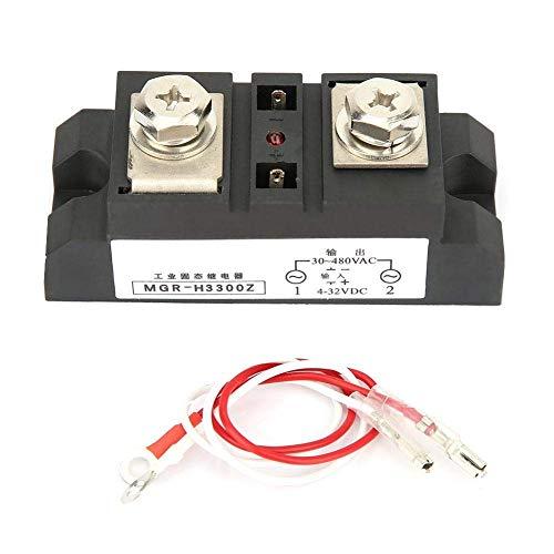 HUAHUA Cicly Timer Relay Controlador de estado sólido Grado Industrial, Control DC relé de estado sólido Industrial AC SSR 300A / 350A / 400A y del disipador de calor 40amp 40DA 3-32V / 24-380V (MGR-H
