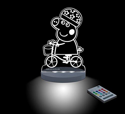FUNLIGHTS Peppa Pig Bici Lámpara Bebé LED Multicolor con Mando. Elige el Color, Intensidad, Temporizador, Arco-iris y ¡mucho más!