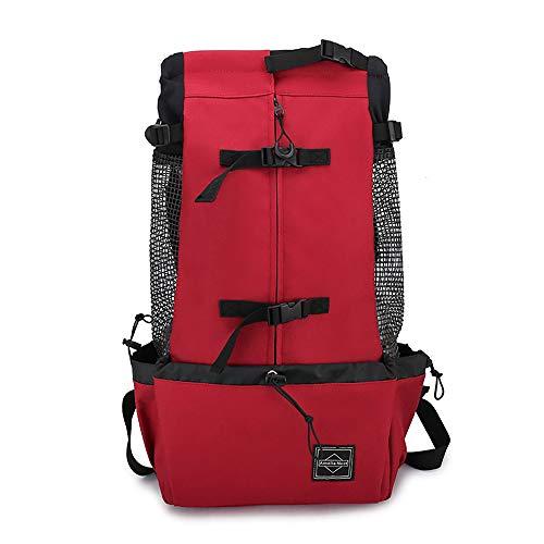 Thundeal Mochila transportadora de mascotas ligera para perros pequeños y medianos al aire libre mochila de transporte transpirable (XL, rojo)