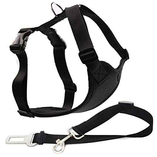 Musonic Dog Safety Vest Harness with Safety Belt for Most Car, Travel Strap Vest with Car Seat Belt Lead Adjustable Lightweight and Comfortable Black for Small Medium Large Dogs Black XL