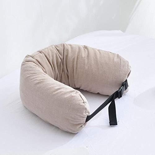 TAYIBO Compacta Almohada Ortopédica Cervical,Almohada para el Cuello en Forma de U, algodón Lavado algodón, partículas de látex extraíbles-Khaki_65 * 12