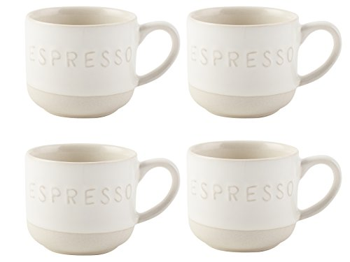 La Cafetiere Origins geprägt Espresso Tassen, Steingut, Weiß, 4-teilig