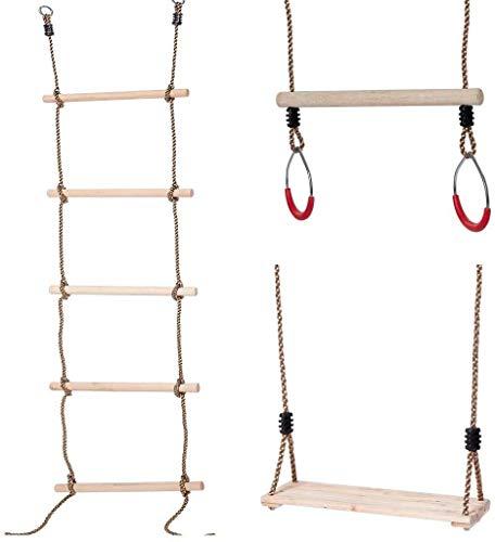 Niños escalada Escalera de cuerda, Trapecio barra con los anillos y columpios colgantes Asiento Bundle, gimnasia columpio for los conjuntos columpio al aire libre, patio trasero reproducción Ajusta